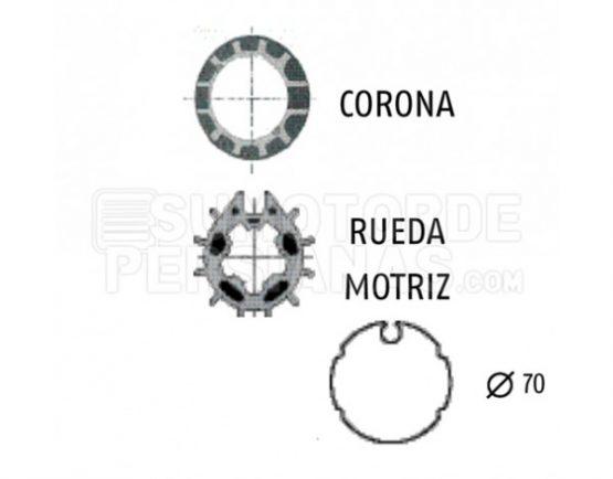 Adaptador Somfy de motor a eje toldo 70mm con ojiva
